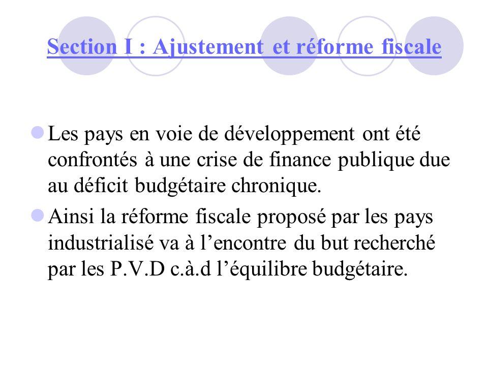 Section I : Ajustement et réforme fiscale Le problème qui se pose à ce niveau, cest comment prêcher la résolution de la pression fiscale sans courir le risque deffrayer le déficit budgétaire .