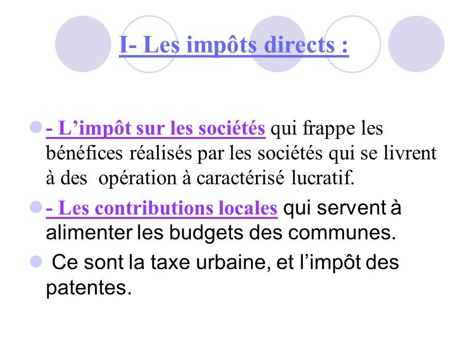 I- Les impôts directs : - Limpôt sur les sociétés qui frappe les bénéfices réalisés par les sociétés qui se livrent à des opération à caractérisé lucr