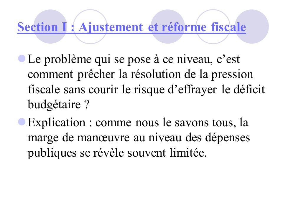Section I : Ajustement et réforme fiscale Le problème qui se pose à ce niveau, cest comment prêcher la résolution de la pression fiscale sans courir l