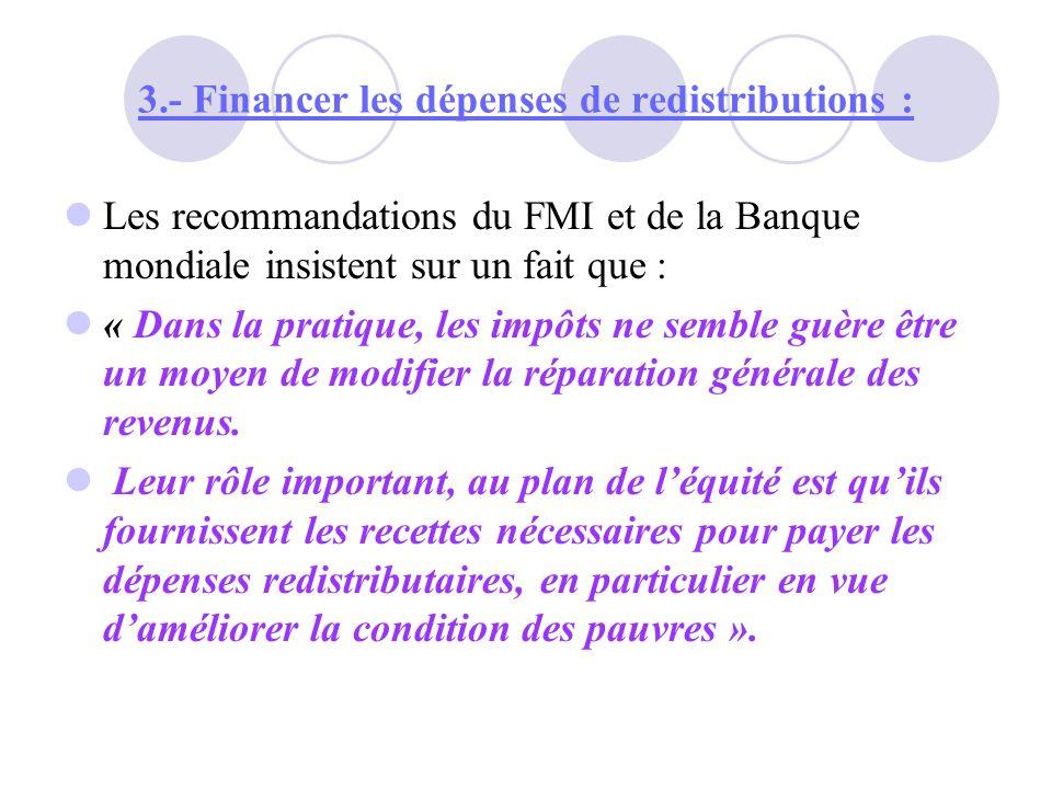3.- Financer les dépenses de redistributions : Ainsi ; le patronat marocain a adhéré aux thèses néo-libérales décriant fortement « Trop dimpôt tue limpôt » plaidant pour un « défiscalisation progressive » et prônant les mérites dune « fiscalité douce ».