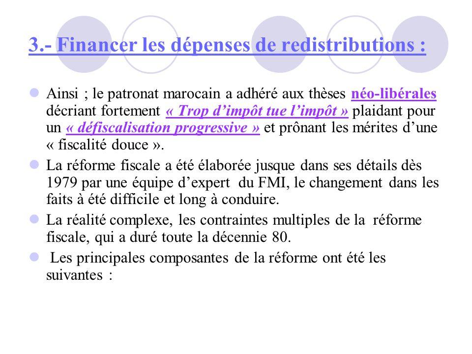 3.- Financer les dépenses de redistributions : Ainsi ; le patronat marocain a adhéré aux thèses néo-libérales décriant fortement « Trop dimpôt tue lim