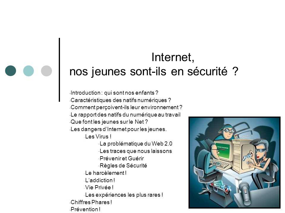 Internet, nos jeunes sont-ils en sécurité ? - Introduction : qui sont nos enfants ? - Caractéristiques des natifs numériques ? - Comment perçoivent-il