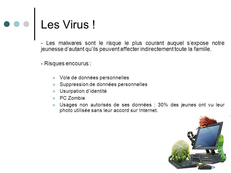 Les Virus ! - Les malwares sont le risque le plus courant auquel sexpose notre jeunesse dautant quils peuvent affecter indirectement toute la famille.