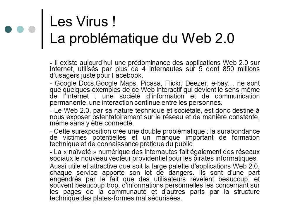 Les Virus ! La problématique du Web 2.0 - Il existe aujourdhui une prédominance des applications Web 2.0 sur Internet, utilisés par plus de 4 internau