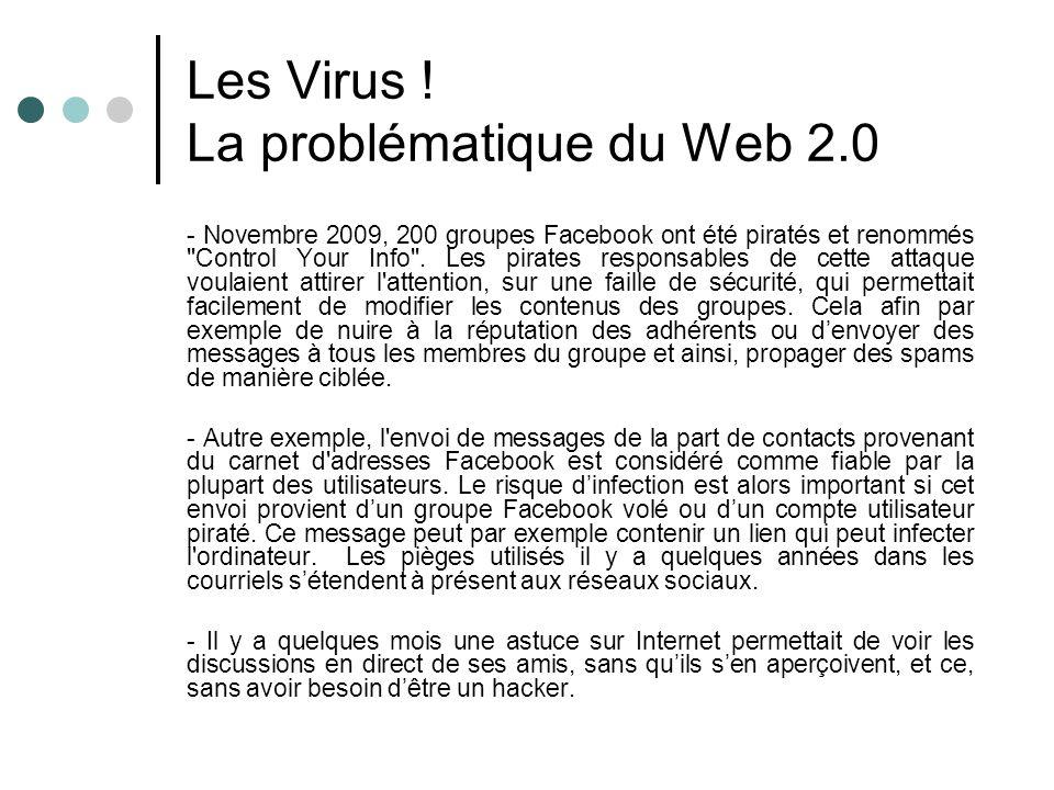 Les Virus ! La problématique du Web 2.0 - Novembre 2009, 200 groupes Facebook ont été piratés et renommés