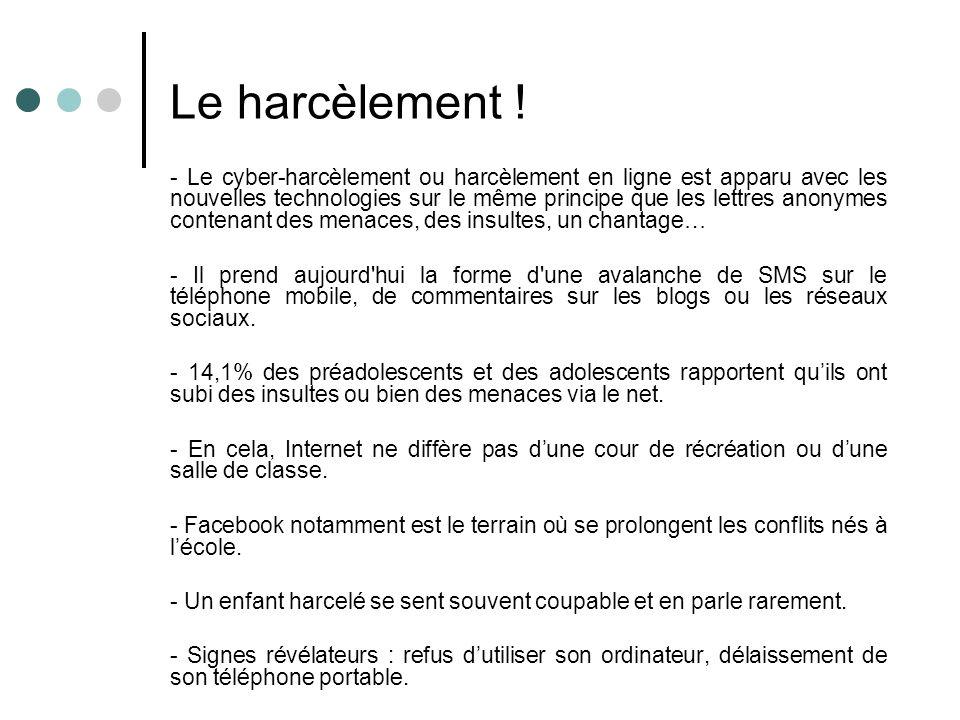 Le harcèlement ! - Le cyber-harcèlement ou harcèlement en ligne est apparu avec les nouvelles technologies sur le même principe que les lettres anonym