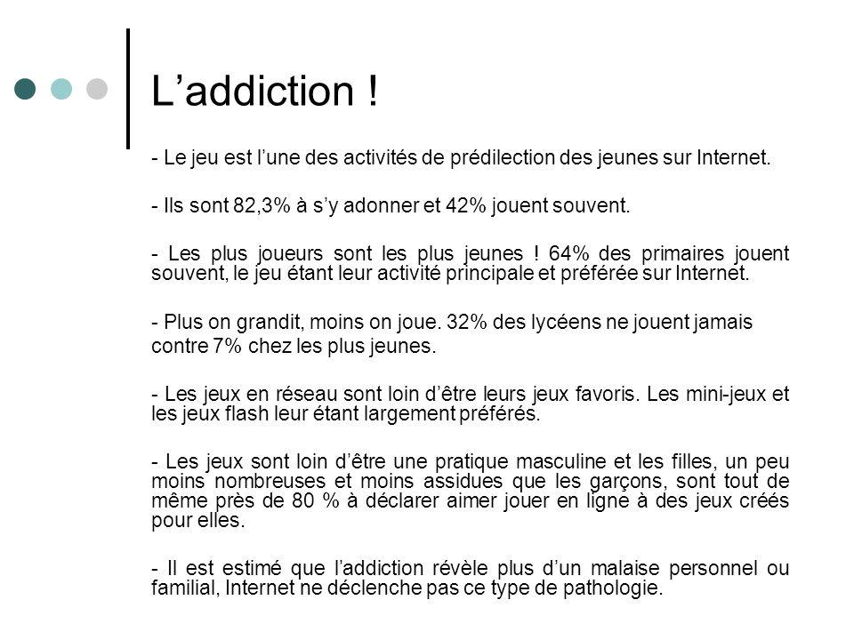 Laddiction ! - Le jeu est lune des activités de prédilection des jeunes sur Internet. - Ils sont 82,3% à sy adonner et 42% jouent souvent. - Les plus