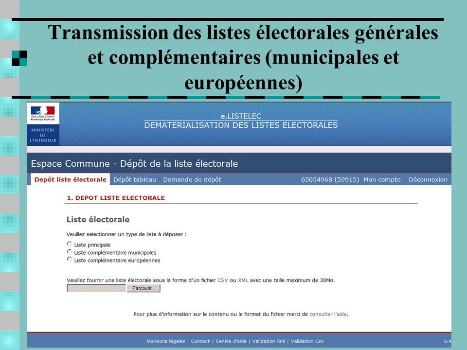 4 Transmission des listes électorales générales et complémentaires (municipales et européennes)