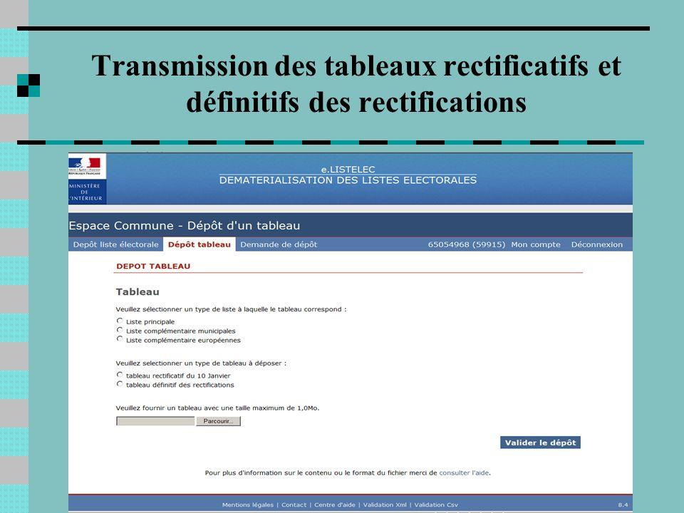 5 Transmission des tableaux rectificatifs et définitifs des rectifications