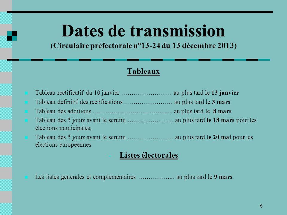 6 Tableaux Tableau rectificatif du 10 janvier …………………… au plus tard le 13 janvier Tableau définitif des rectifications …………………..