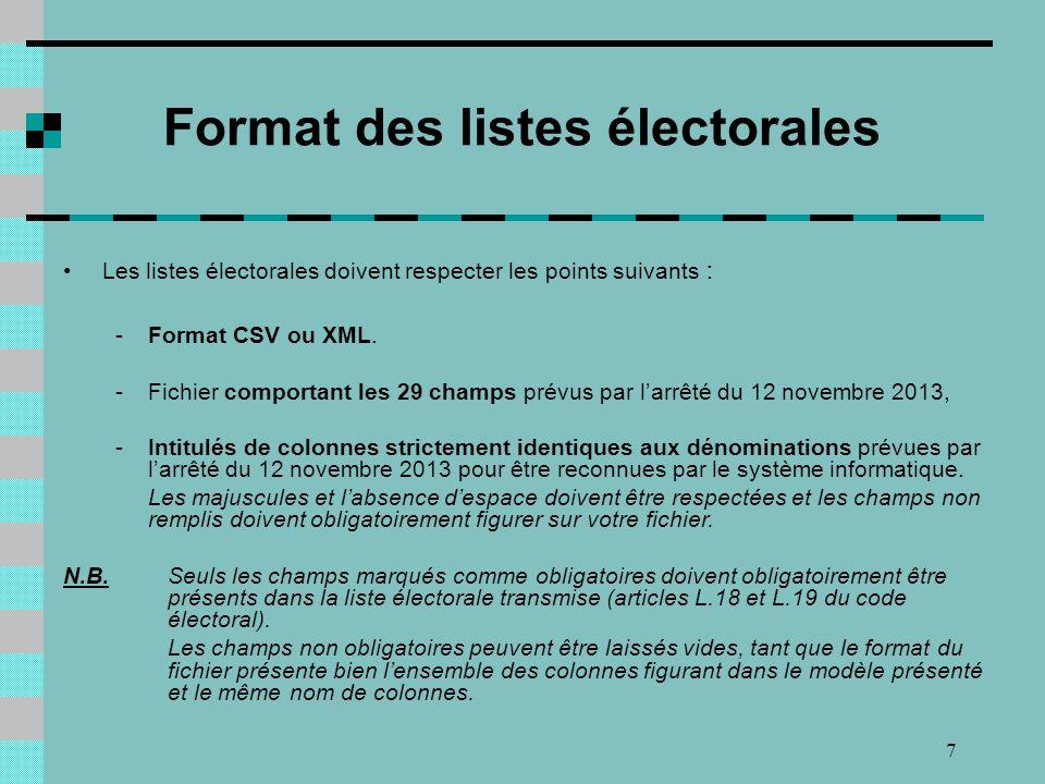 7 Les listes électorales doivent respecter les points suivants : -Format CSV ou XML.