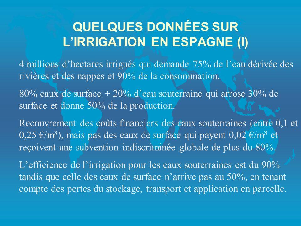 QUELQUES DONNÉES SUR LIRRIGATION EN ESPAGNE (I) 4 millions dhectares irrigués qui demande 75% de leau dérivée des rivières et des nappes et 90% de la consommation.