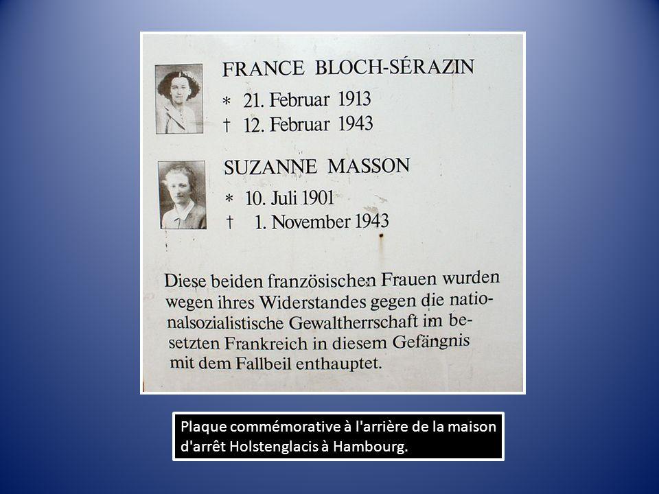 Plaque commémorative à l'arrière de la maison d'arrêt Holstenglacis à Hambourg.