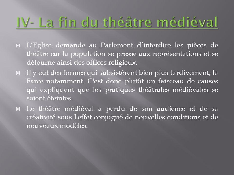 LEglise demande au Parlement dinterdire les pièces de théâtre car la population se presse aux représentations et se détourne ainsi des offices religie