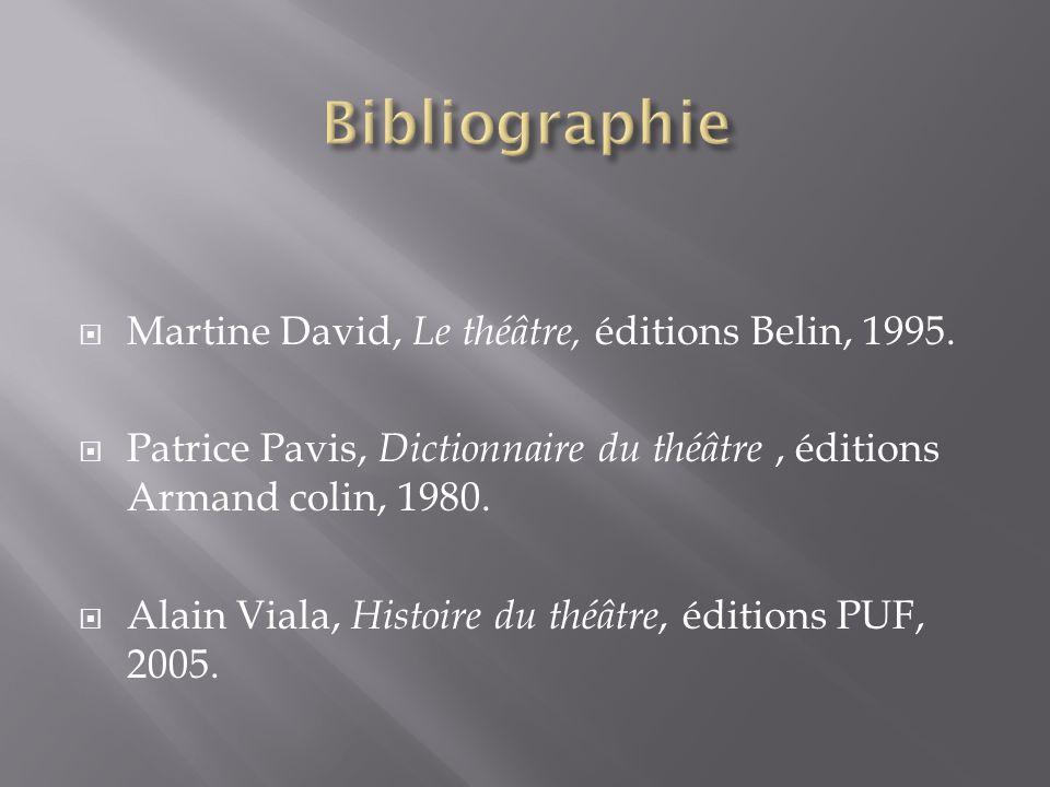 Martine David, Le théâtre, éditions Belin, 1995. Patrice Pavis, Dictionnaire du théâtre, éditions Armand colin, 1980. Alain Viala, Histoire du théâtre