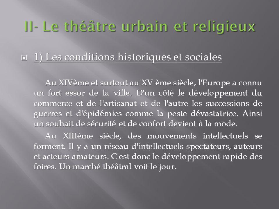 1) Les conditions historiques et sociales 1) Les conditions historiques et sociales Au XIVème et surtout au XV ème siècle, l'Europe a connu un fort es