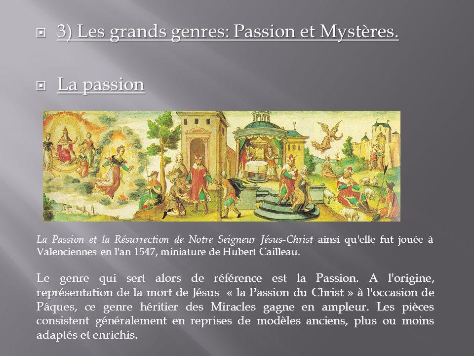 3) Les grands genres: Passion et Mystères. 3) Les grands genres: Passion et Mystères. La passion La passion La Passion et la Résurrection de Notre Sei