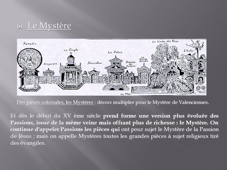 Le Mystère Le Mystère Des pièces colossales, les Mystères : décors multiples pour le Mystère de Valenciennes. Des pièces colossales, les Mystères : dé