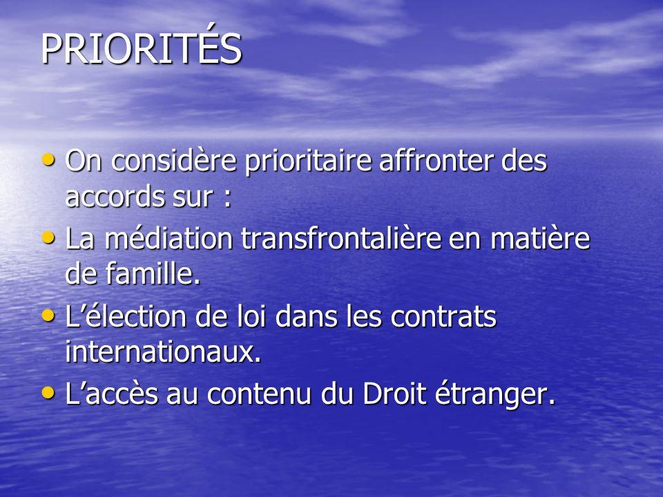 PRIORITÉS On considère prioritaire affronter des accords sur : On considère prioritaire affronter des accords sur : La médiation transfrontalière en matière de famille.