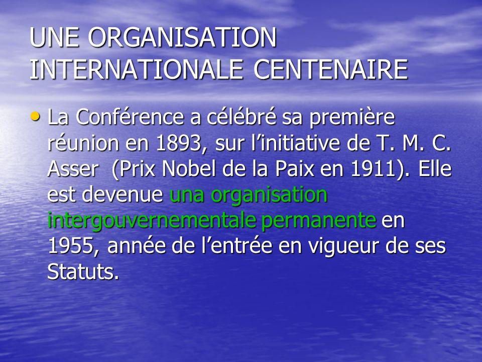UNE ORGANISATION INTERNATIONALE CENTENAIRE La Conférence a célébré sa première réunion en 1893, sur linitiative de T.