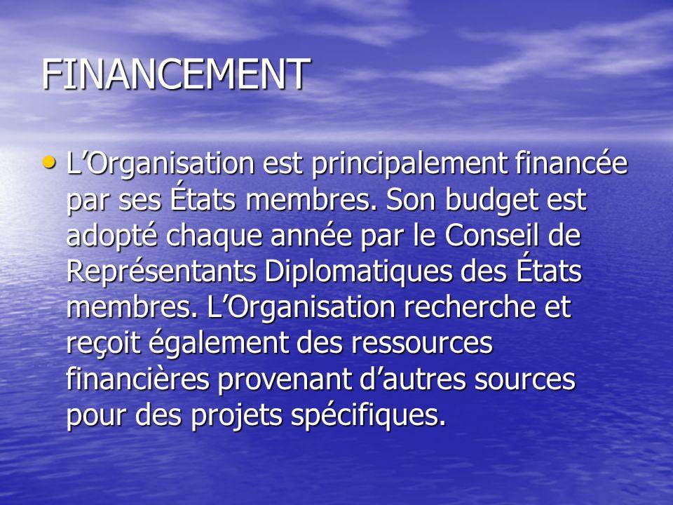 FINANCEMENT LOrganisation est principalement financée par ses États membres.
