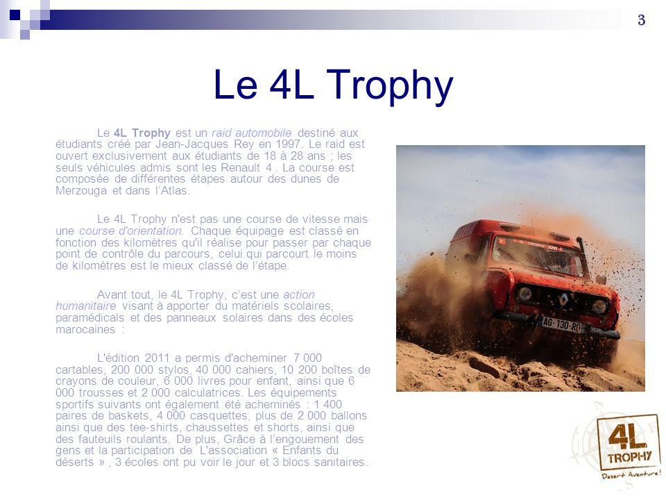 Le 4L Trophy Selon le site officiel du 4L Trophy, ce raid cest : site officiel du 4L Trophy « 1446 équipages soit 2892 participants issus de plus de 1460 écoles, se sont élancés depuis le Futuroscope de Poitiers et de Saint-Jean de Luz, les deux villages de départ, à bord de la mythique 4L.
