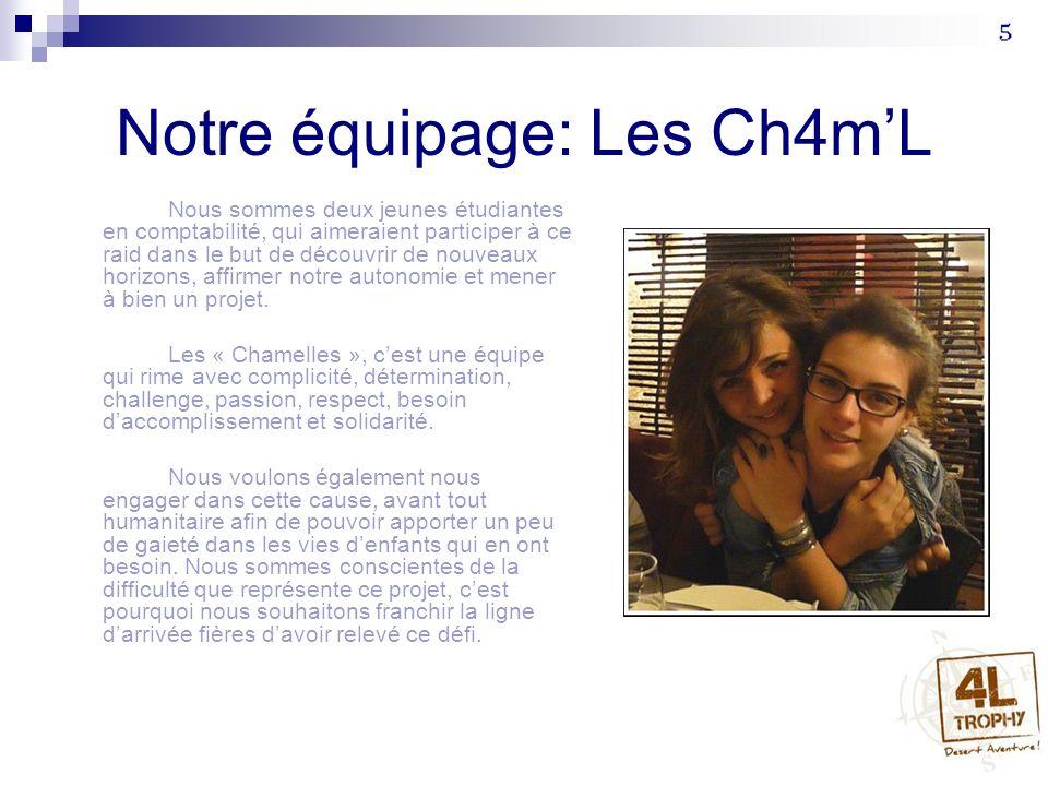 Notre équipage: Les Ch4mL Nous sommes deux jeunes étudiantes en comptabilité, qui aimeraient participer à ce raid dans le but de découvrir de nouveaux