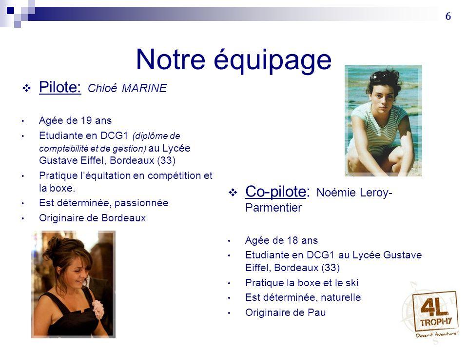 Notre équipage Pilote: Chloé MARINE Agée de 19 ans Etudiante en DCG1 (diplôme de comptabilité et de gestion) au Lycée Gustave Eiffel, Bordeaux (33) Pr