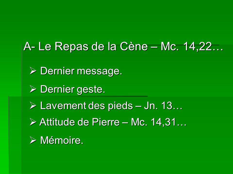 A- Le Repas de la Cène – Mc.14,22… Dernier message.