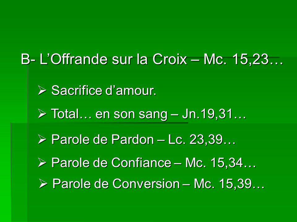 B- LOffrande sur la Croix – Mc.15,23… Sacrifice damour.