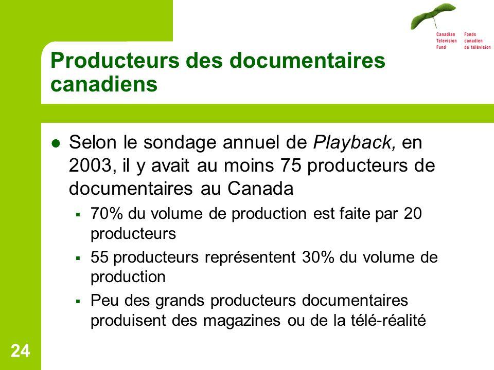 24 Producteurs des documentaires canadiens Selon le sondage annuel de Playback, en 2003, il y avait au moins 75 producteurs de documentaires au Canada 70% du volume de production est faite par 20 producteurs 55 producteurs représentent 30% du volume de production Peu des grands producteurs documentaires produisent des magazines ou de la télé-réalité