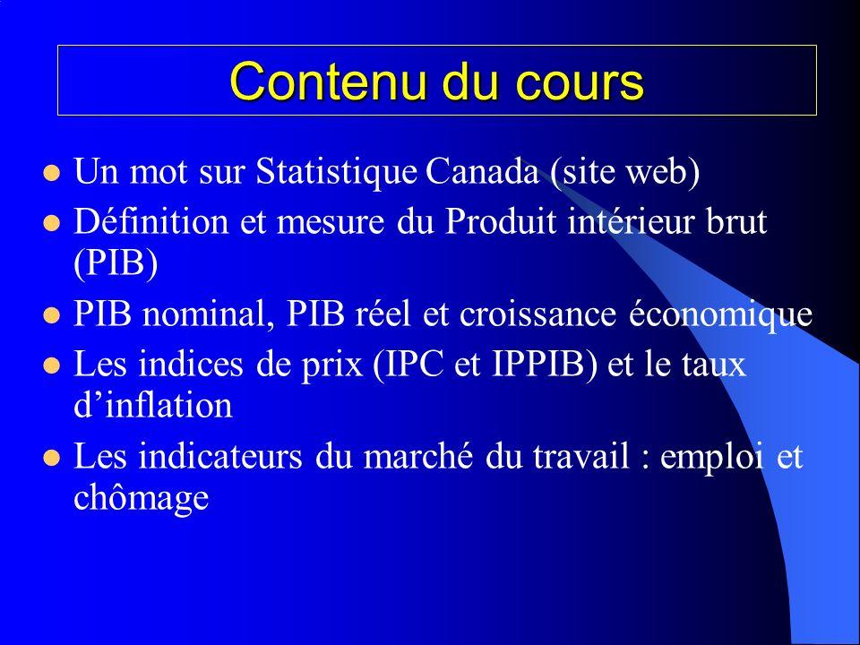 Contenu du cours Un mot sur Statistique Canada (site web) Définition et mesure du Produit intérieur brut (PIB) PIB nominal, PIB réel et croissance économique Les indices de prix (IPC et IPPIB) et le taux dinflation Les indicateurs du marché du travail : emploi et chômage
