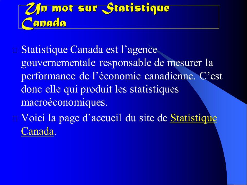 Un mot sur Statistique Canada Un mot sur Statistique Canada Statistique Canada est lagence gouvernementale responsable de mesurer la performance de léconomie canadienne.