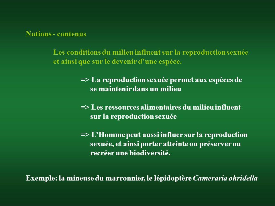 Notions - contenus Les conditions du milieu influent sur la reproduction sexuée et ainsi que sur le devenir dune espèce. => La reproduction sexuée per