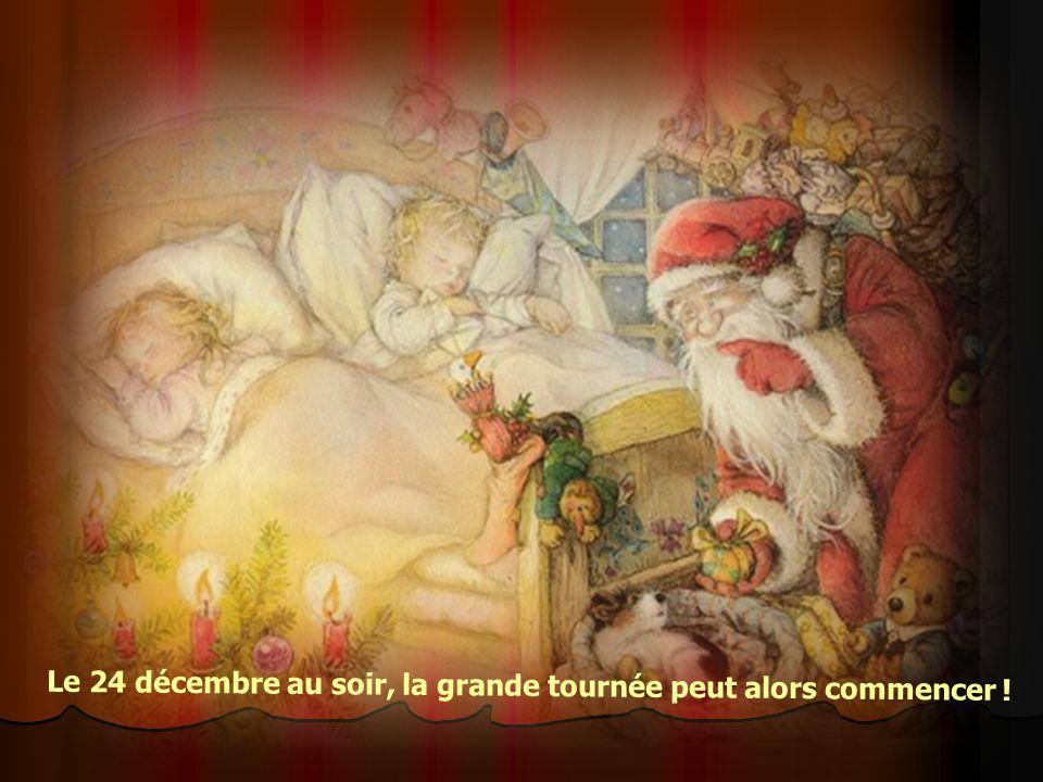Avant de partir dans sa Grande distribution de cadeaux, le Père-noël prend connaissance des notes concernant les enfants du Monde. Les lutins préparen