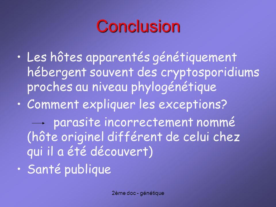 2ème doc - génétique Conclusion Les hôtes apparentés génétiquement hébergent souvent des cryptosporidiums proches au niveau phylogénétique Comment exp