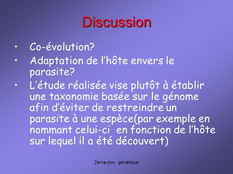 2ème doc - génétique Discussion Co-évolution? Adaptation de lhôte envers le parasite? Létude réalisée vise plutôt à établir une taxonomie basée sur le