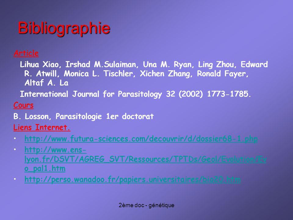 2ème doc - génétique Bibliographie Article Lihua Xiao, Irshad M.Sulaiman, Una M.