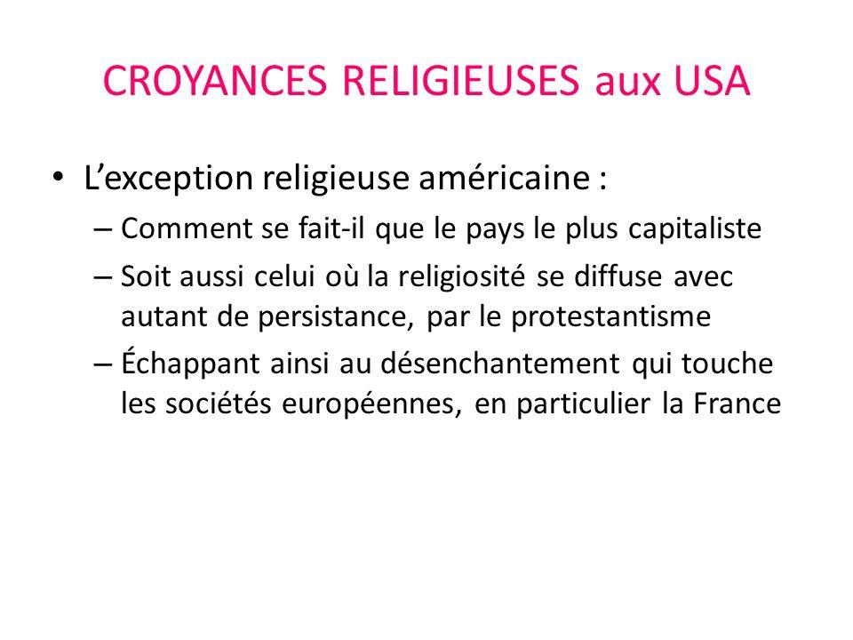 CROYANCES RELIGIEUSES aux USA Lexception religieuse américaine : – Comment se fait-il que le pays le plus capitaliste – Soit aussi celui où la religiosité se diffuse avec autant de persistance, par le protestantisme – Échappant ainsi au désenchantement qui touche les sociétés européennes, en particulier la France
