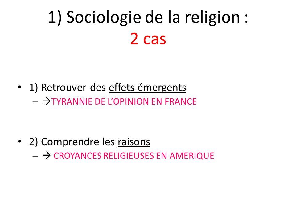 1) Sociologie de la religion : 2 cas 1) Retrouver des effets émergents – TYRANNIE DE LOPINION EN FRANCE 2) Comprendre les raisons – CROYANCES RELIGIEUSES EN AMERIQUE