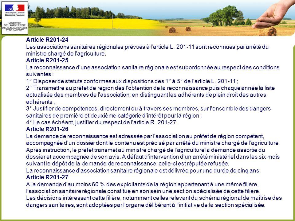 Article R201-24 Les associations sanitaires régionales prévues à l article L.