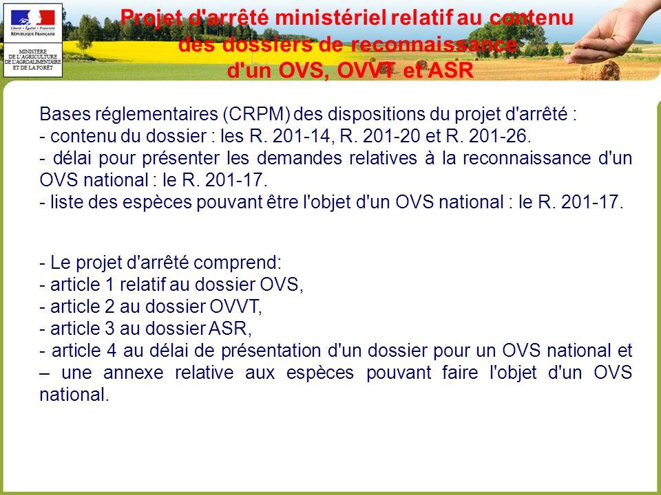Bases réglementaires (CRPM) des dispositions du projet d arrêté : - contenu du dossier : les R.
