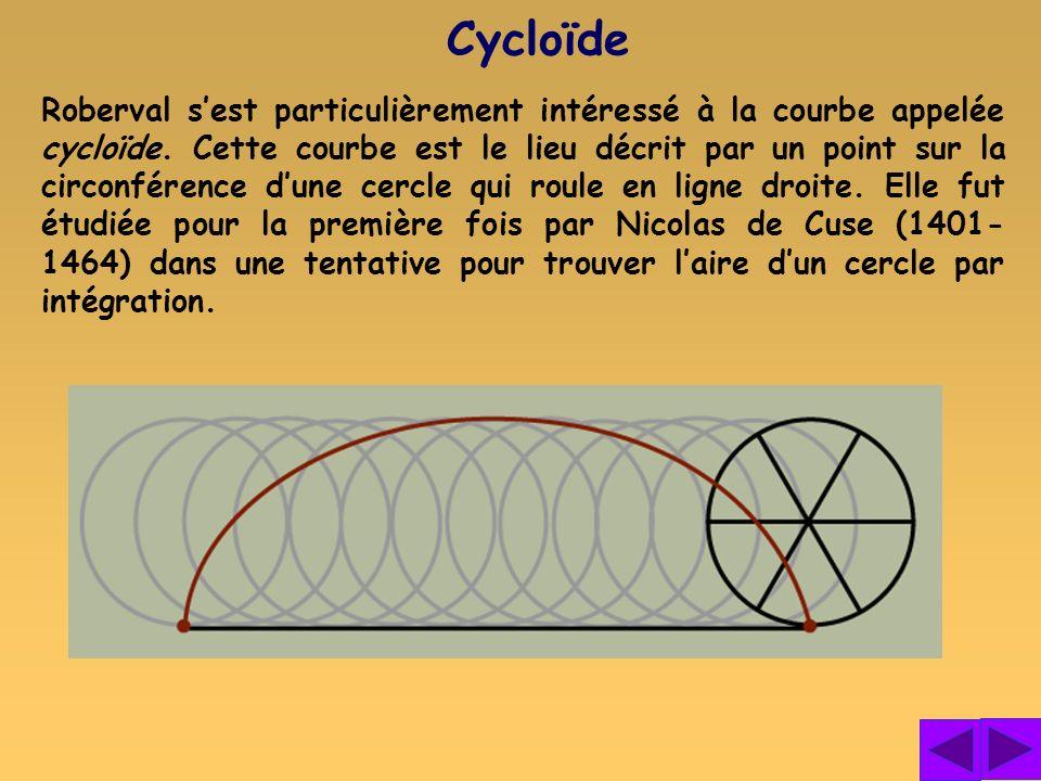 Roberval sest particulièrement intéressé à la courbe appelée cycloïde. Cette courbe est le lieu décrit par un point sur la circonférence dune cercle q