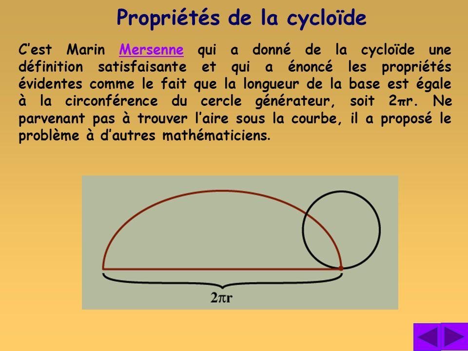 Cest Marin Mersenne qui a donné de la cycloïde une définition satisfaisante et qui a énoncé les propriétés évidentes comme le fait que la longueur de