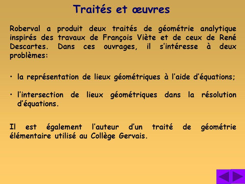 Roberval a produit deux traités de géométrie analytique inspirés des travaux de François Viète et de ceux de René Descartes. Dans ces ouvrages, il sin