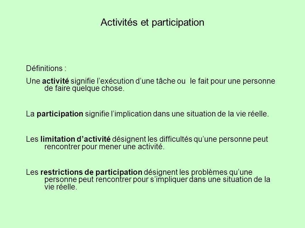 Activités et participation Définitions : Une activité signifie lexécution dune tâche ou le fait pour une personne de faire quelque chose. La participa