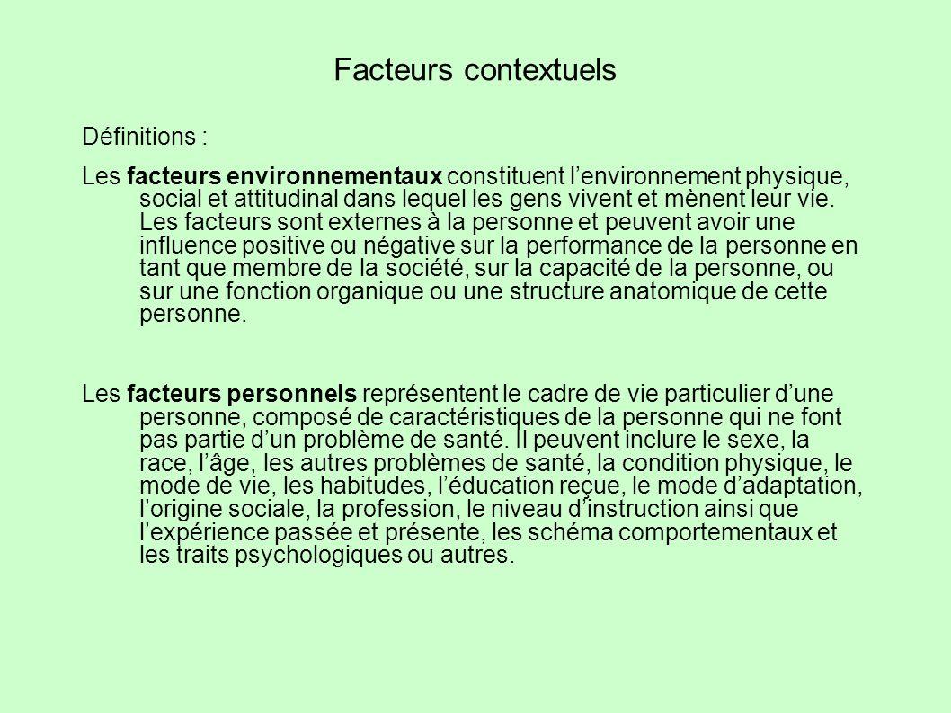 Facteurs contextuels Définitions : Les facteurs environnementaux constituent lenvironnement physique, social et attitudinal dans lequel les gens viven