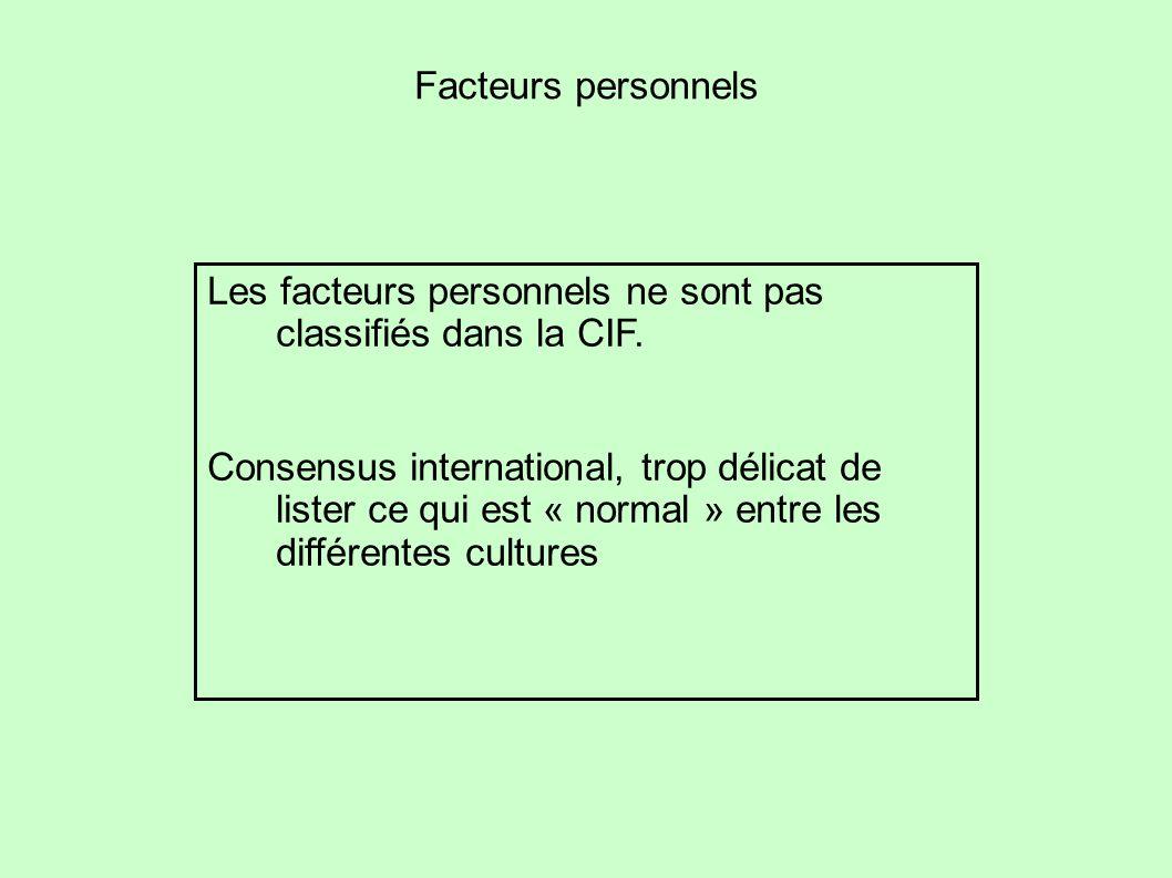 Facteurs personnels Les facteurs personnels ne sont pas classifiés dans la CIF. Consensus international, trop délicat de lister ce qui est « normal »