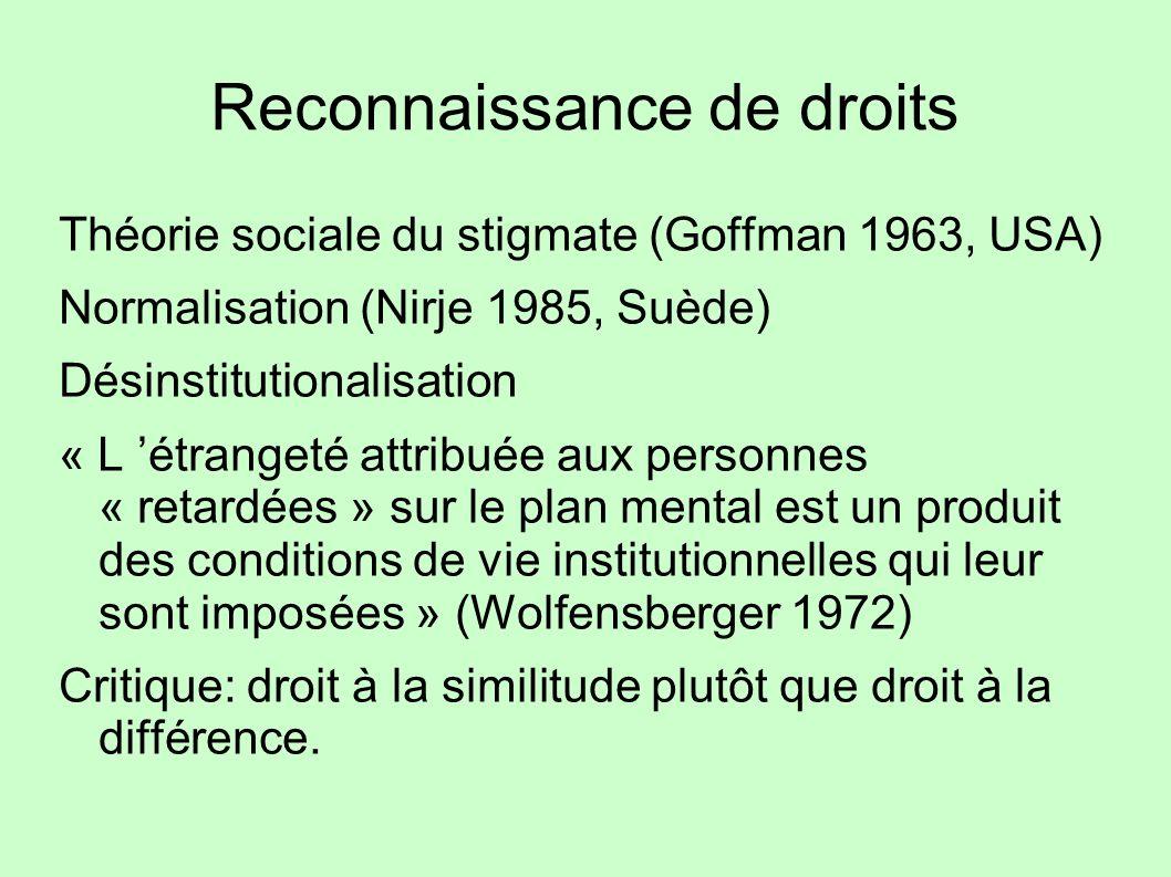 Reconnaissance de droits Théorie sociale du stigmate (Goffman 1963, USA) Normalisation (Nirje 1985, Suède) Désinstitutionalisation « L étrangeté attri