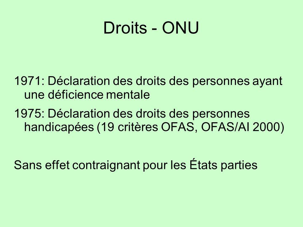 Droits - ONU 1971: Déclaration des droits des personnes ayant une déficience mentale 1975: Déclaration des droits des personnes handicapées (19 critèr